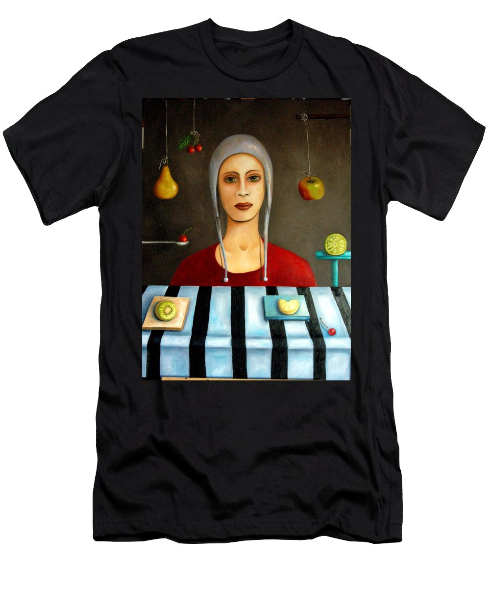 Fruit Men's T-Shirt (Athletic Fit) featuring the painting The Fruit Collector by Leah Saulnier The Painting Maniac