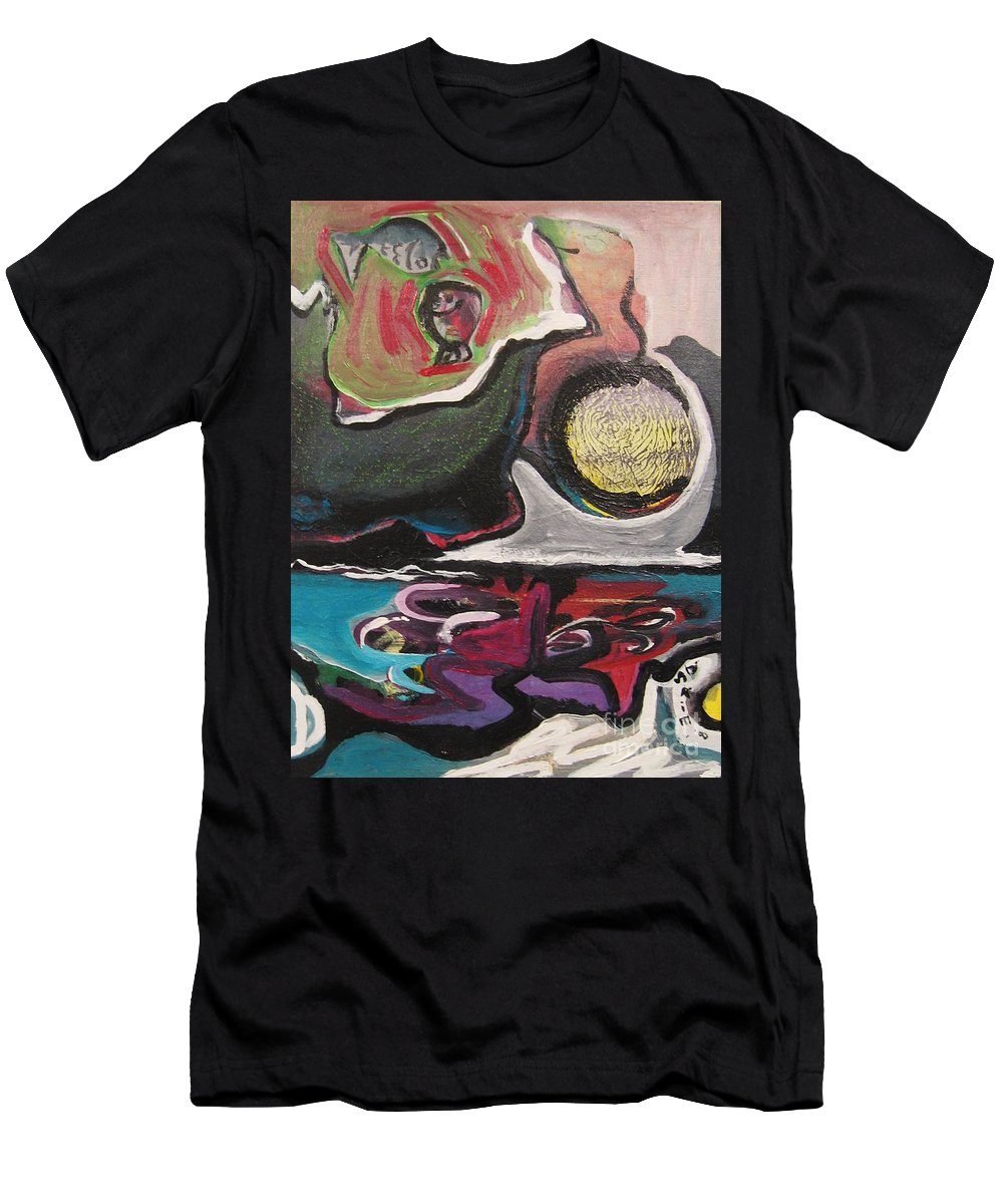 Abstract Paintings Men's T-Shirt (Athletic Fit) featuring the painting The Full Moon2 by Seon-Jeong Kim
