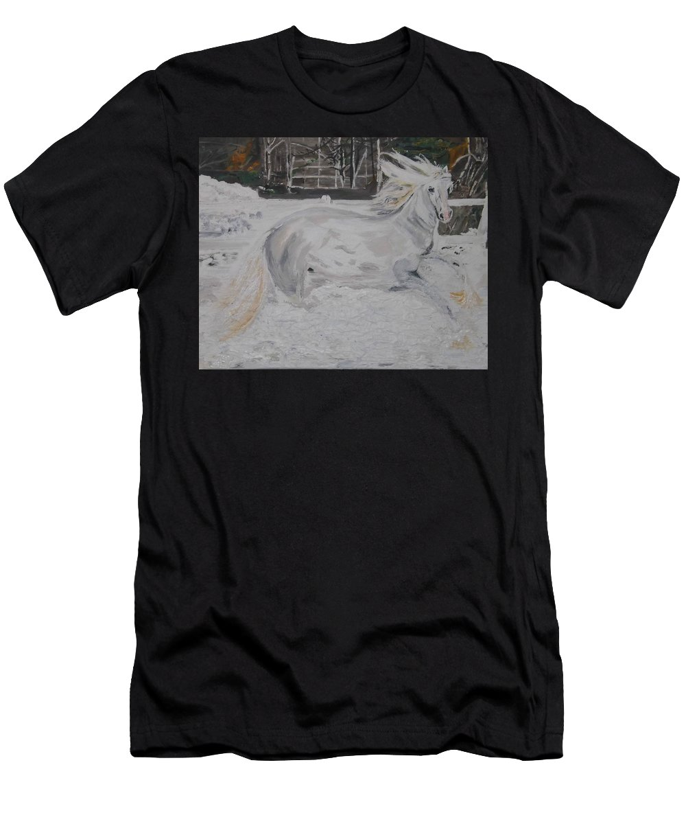 Landscape Men's T-Shirt (Athletic Fit) featuring the painting The Gallop by Denise Morgan