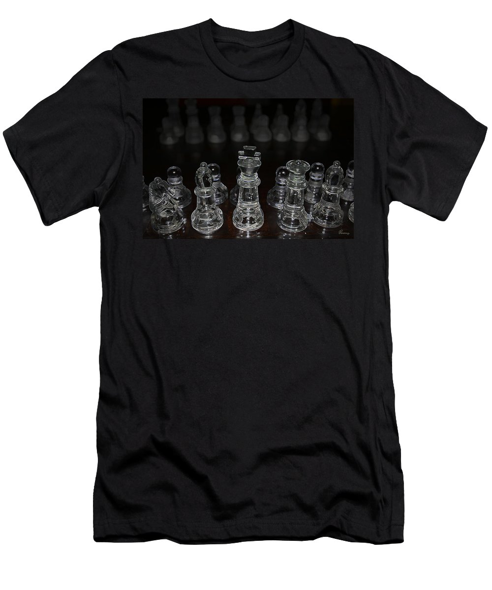 Game Chess King Queen Knight Board Match Players Pawn Bishop Men's T-Shirt (Athletic Fit) featuring the photograph The Game by Andrea Lawrence