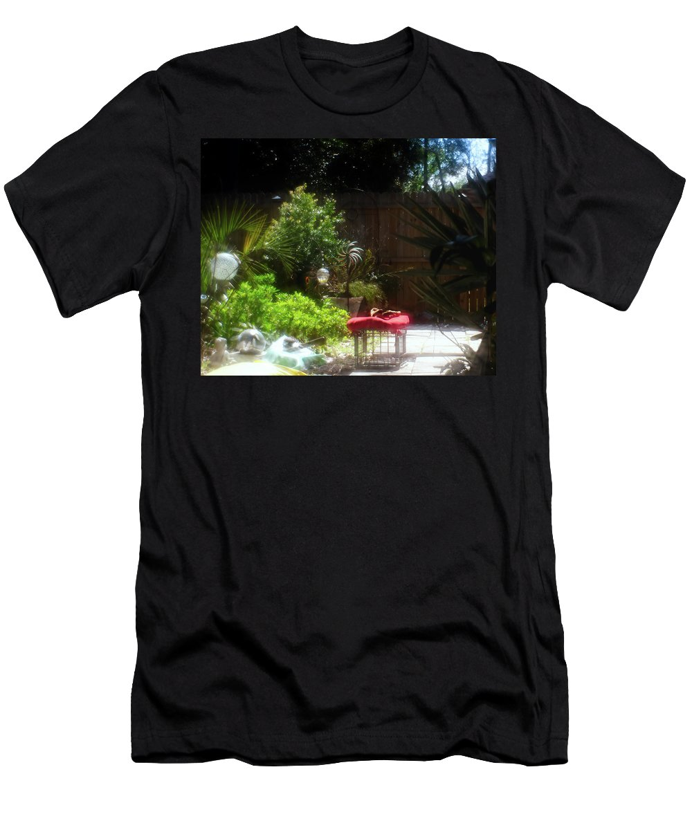 Garden Men's T-Shirt (Athletic Fit) featuring the photograph The Garden Bench by Sharon Minish