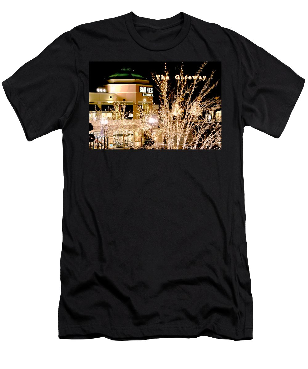 Gateway Men's T-Shirt (Athletic Fit) featuring the digital art The Gateway Mall by Gary Baird