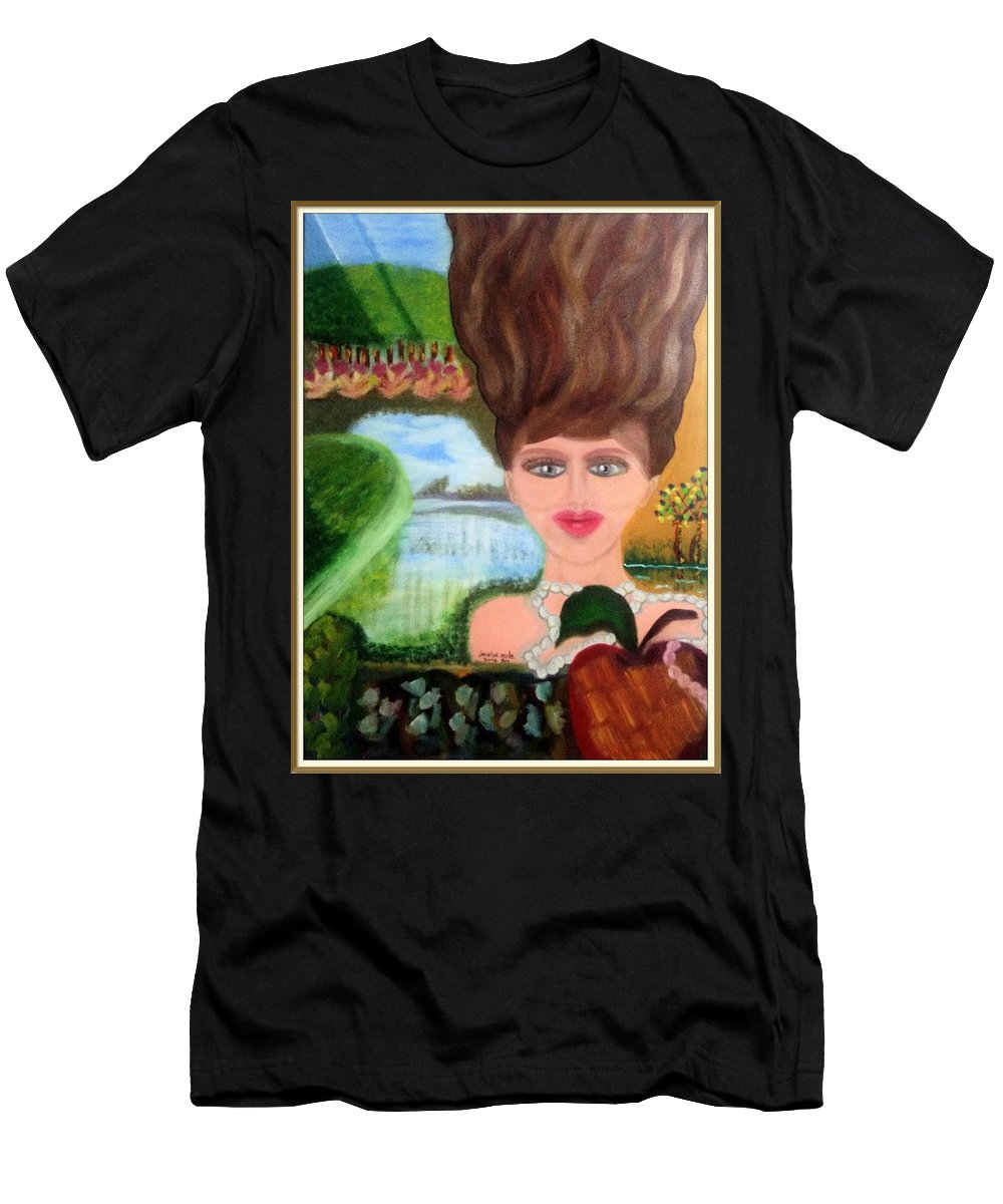 Appleartcom Men's T-Shirt (Athletic Fit) featuring the painting The Girl With A Wooden Hair by Jocelyn Apple