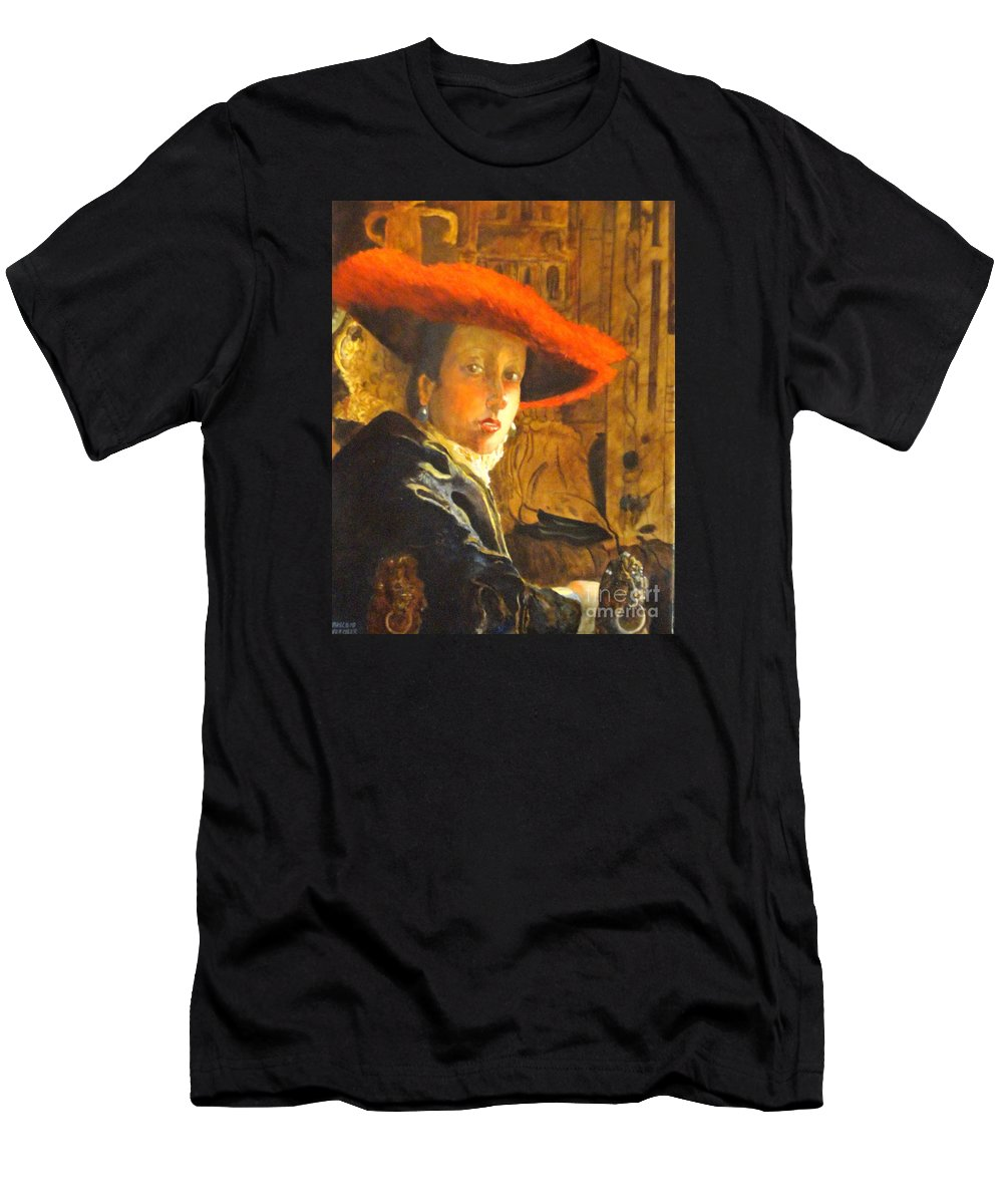 Masterworks Copy T-Shirt featuring the painting THE GIRL WITH THE RED HAT after Jan Vermeer by Dagmar Helbig