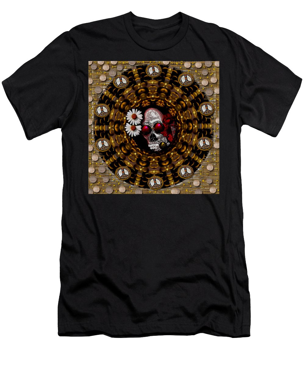 Skull Men's T-Shirt (Athletic Fit) featuring the mixed media The Global Economy In Art by Pepita Selles