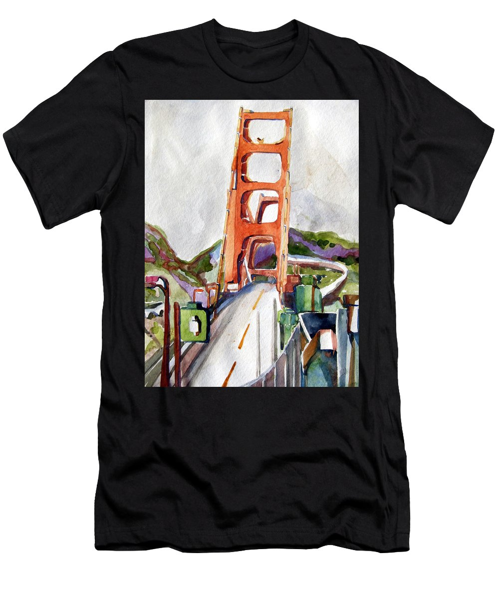 Mindy Newman Men's T-Shirt (Athletic Fit) featuring the painting The Golden Gate Bridge San Francisco by Mindy Newman