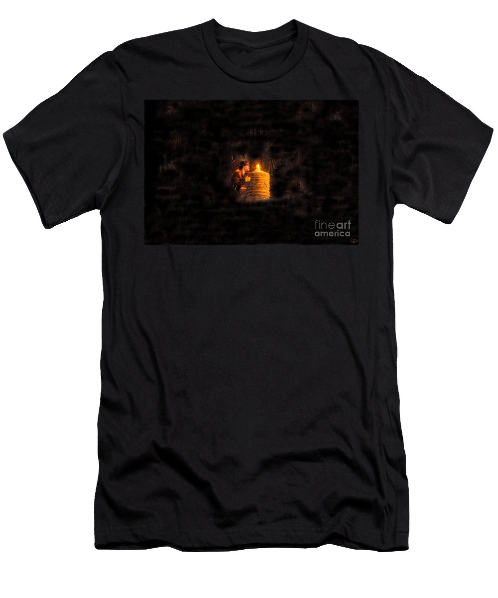 Golden Idol Men's T-Shirt (Athletic Fit) featuring the painting The Golden Idol by David Lee Thompson