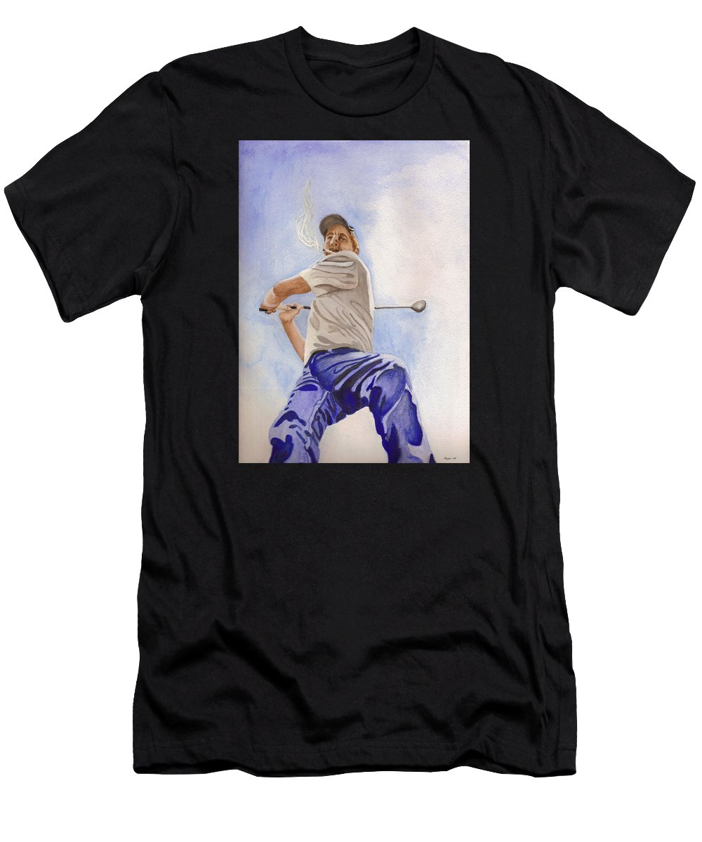 Figure Men's T-Shirt (Athletic Fit) featuring the painting The Golfer by Lois Boyce