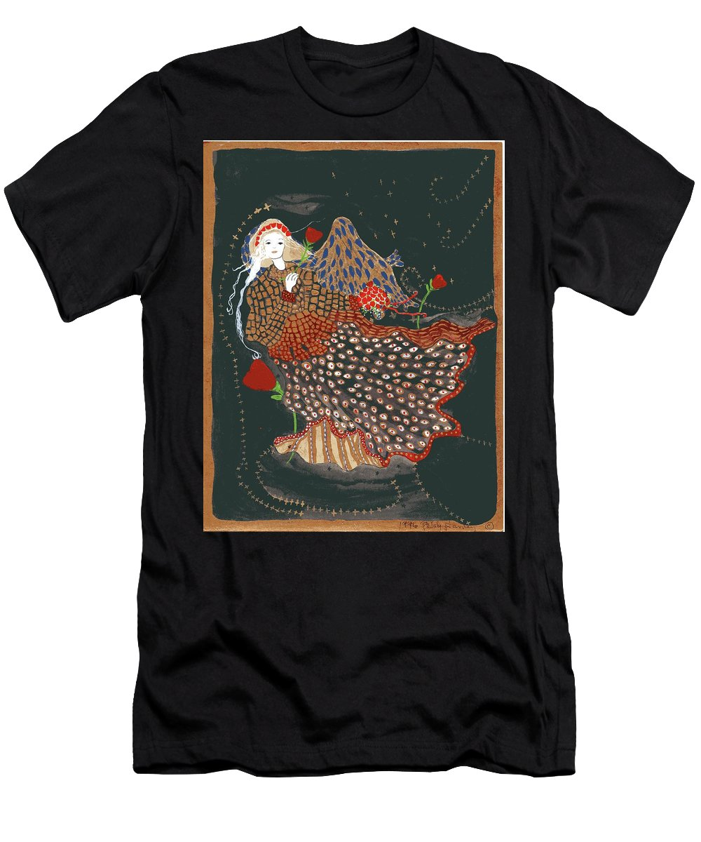 The Good Night Angel Men's T-Shirt (Athletic Fit) featuring the mixed media The Good Night Angel by Patsy Stanley