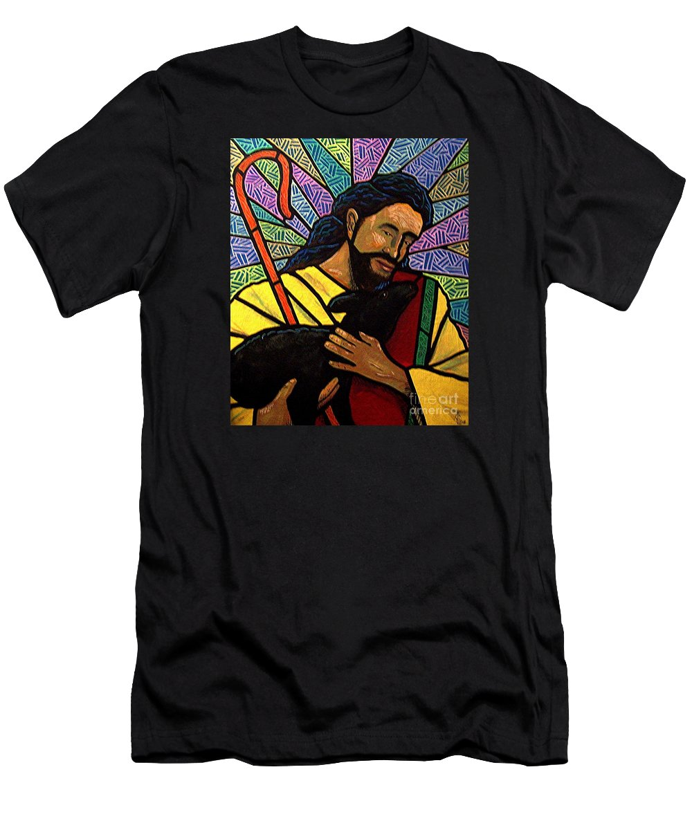 Jesus Men's T-Shirt (Athletic Fit) featuring the painting The Good Shepherd - Practice Painting One by Jim Harris