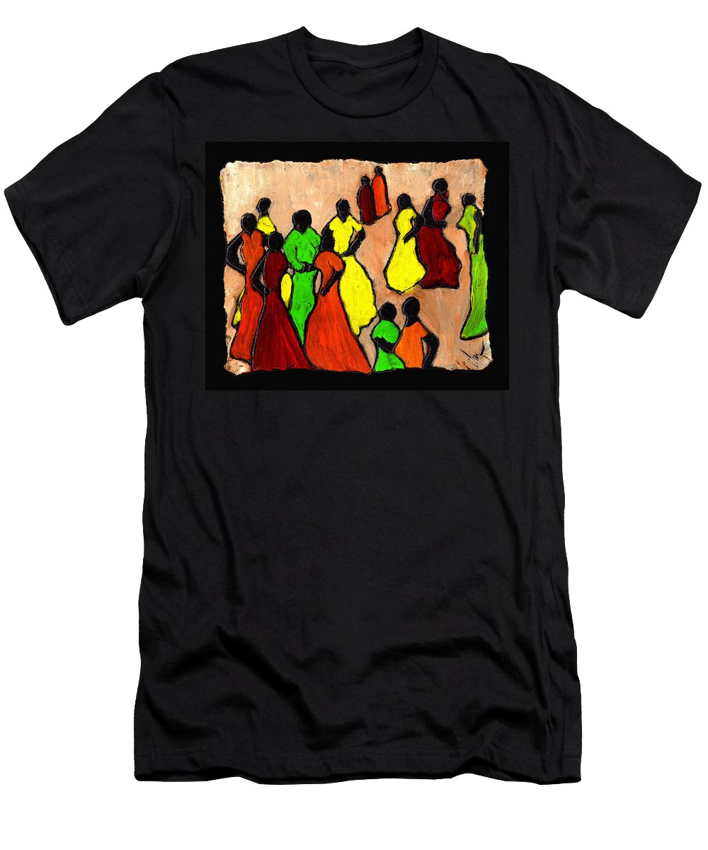 Women Men's T-Shirt (Athletic Fit) featuring the painting The Gossips by Wayne Potrafka