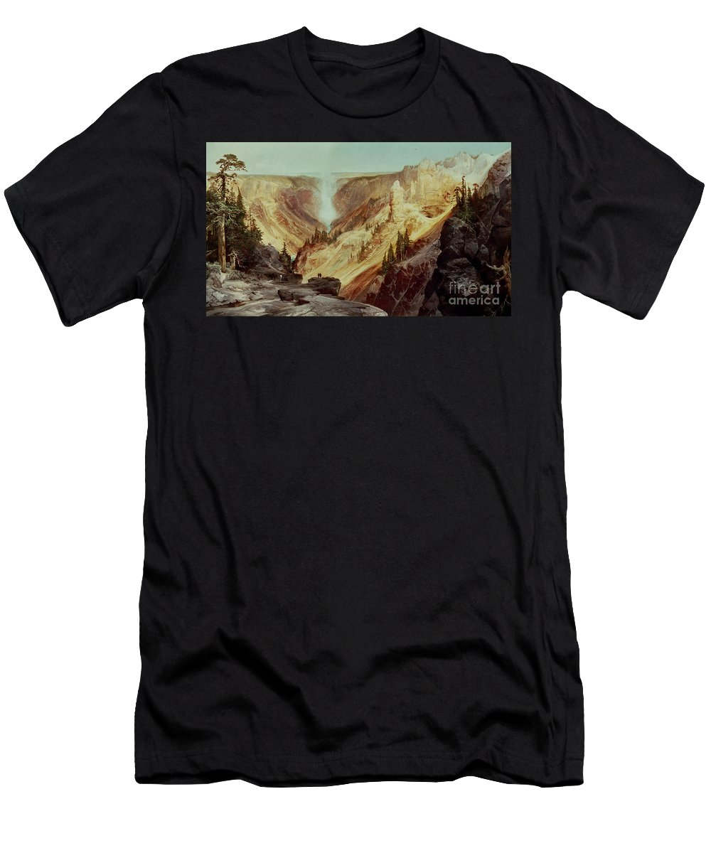 The Grand Canyon Of The Yellowstone Men's T-Shirt (Athletic Fit) featuring the painting The Grand Canyon Of The Yellowstone by Thomas Moran