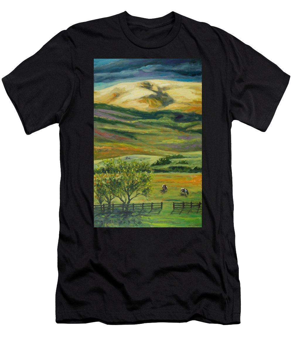 California Hills Men's T-Shirt (Athletic Fit) featuring the painting The Grapevine by Rick Nederlof
