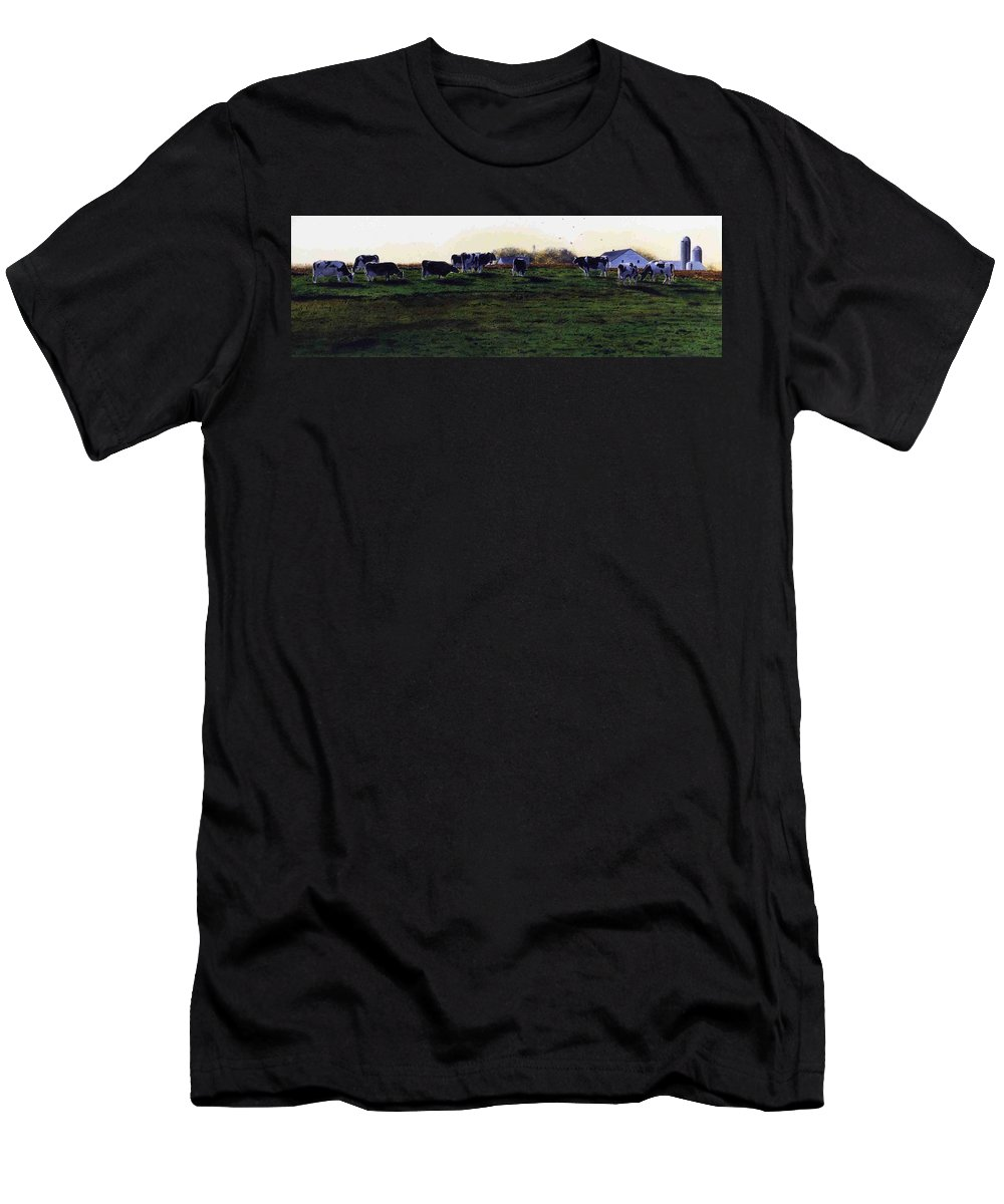 Cows Men's T-Shirt (Athletic Fit) featuring the painting The Grass Is Greener by Denny Bond