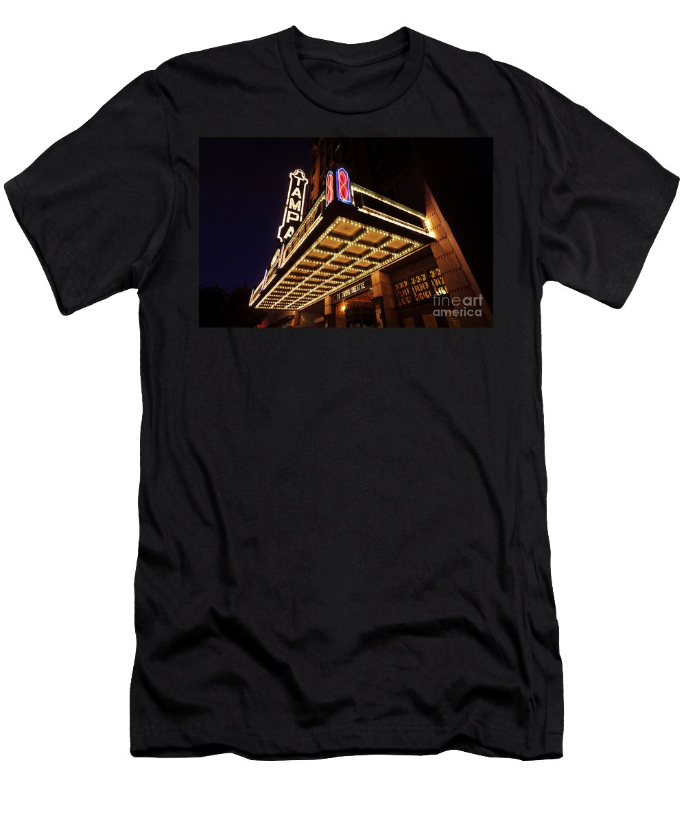 Tampa Theatre Men's T-Shirt (Athletic Fit) featuring the photograph The Great Movie Marquee by David Lee Thompson