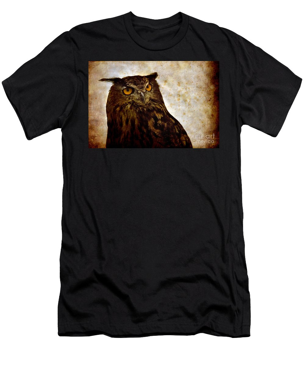 Great Owl Men's T-Shirt (Athletic Fit) featuring the photograph The Great Owl by Angel Tarantella