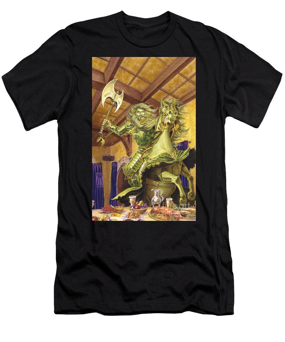 Fine Art Men's T-Shirt (Athletic Fit) featuring the painting The Green Knight by Melissa A Benson