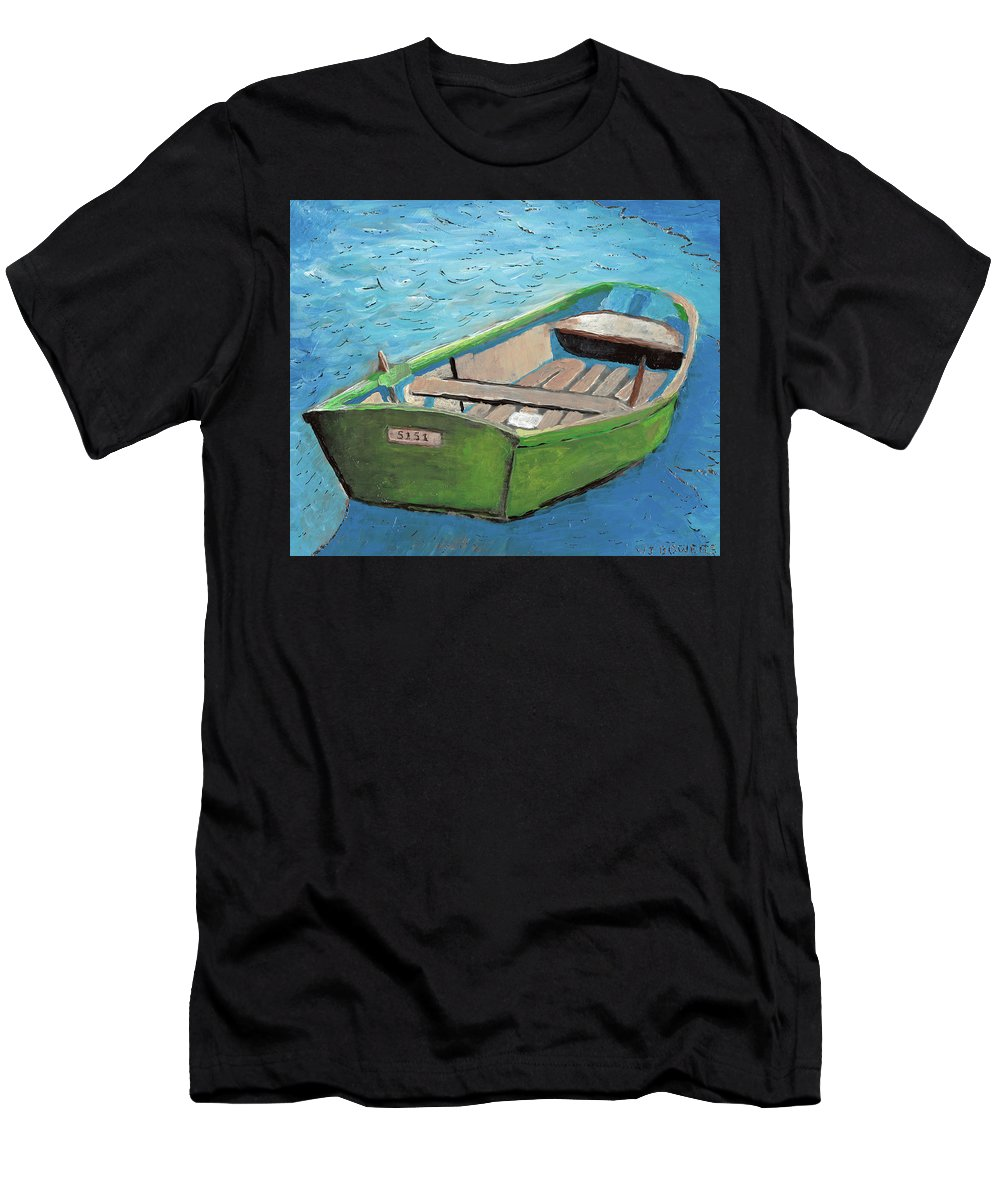 Rowboat Men's T-Shirt (Athletic Fit) featuring the painting The Green Rowboat by William Bowers