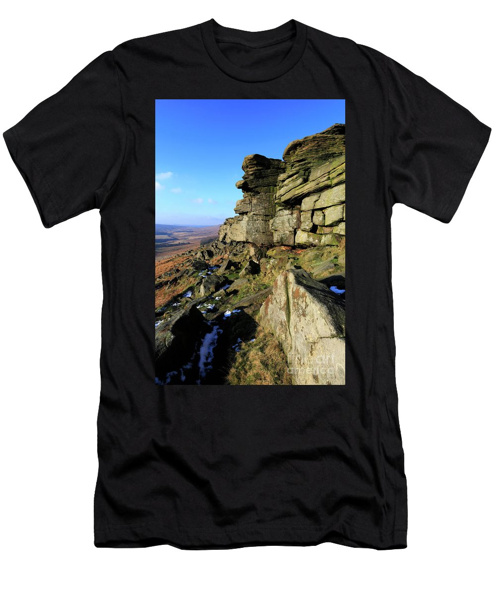 Stanage Edge Men's T-Shirt (Athletic Fit) featuring the photograph The Gritstone Rock Formations On Stanage Edge by Dave Porter