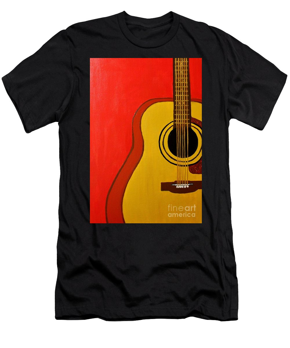 Guitar Men's T-Shirt (Athletic Fit) featuring the painting The Guitar by Mesa Teresita