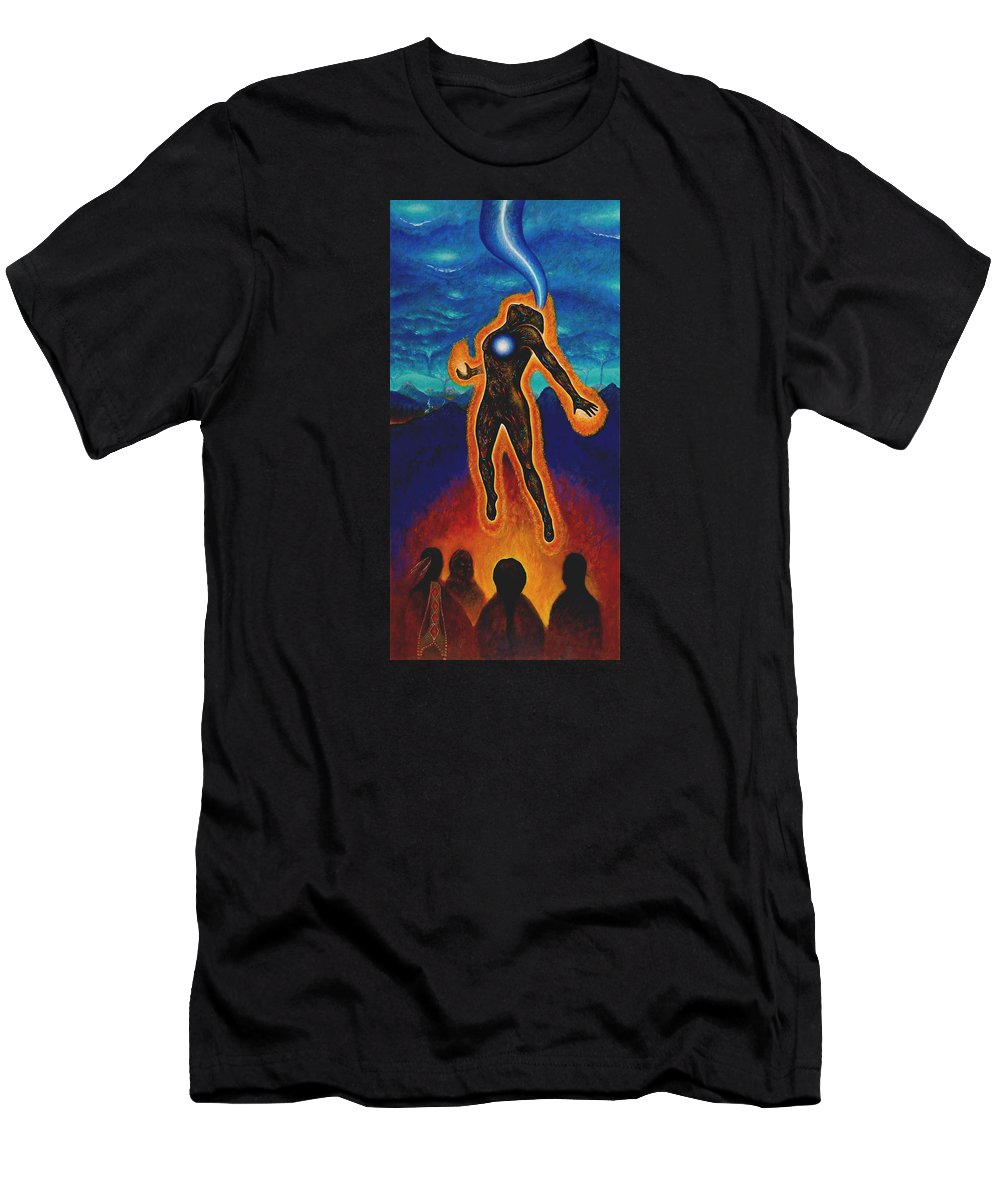 Native American Men's T-Shirt (Athletic Fit) featuring the painting The Harvest by Kevin Chasing Wolf Hutchins