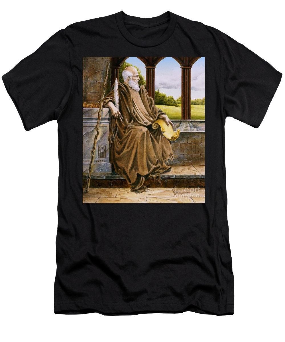 Wise Man Men's T-Shirt (Athletic Fit) featuring the painting The Hermit Nascien by Melissa A Benson