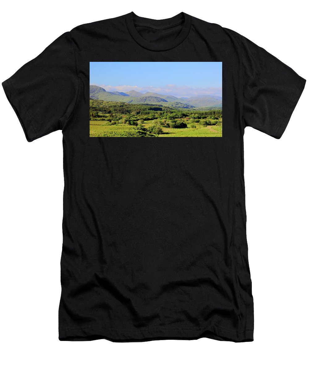 Landscape Hills Men's T-Shirt (Athletic Fit) featuring the photograph The Hills Of Southern Ireland by Keith Thain