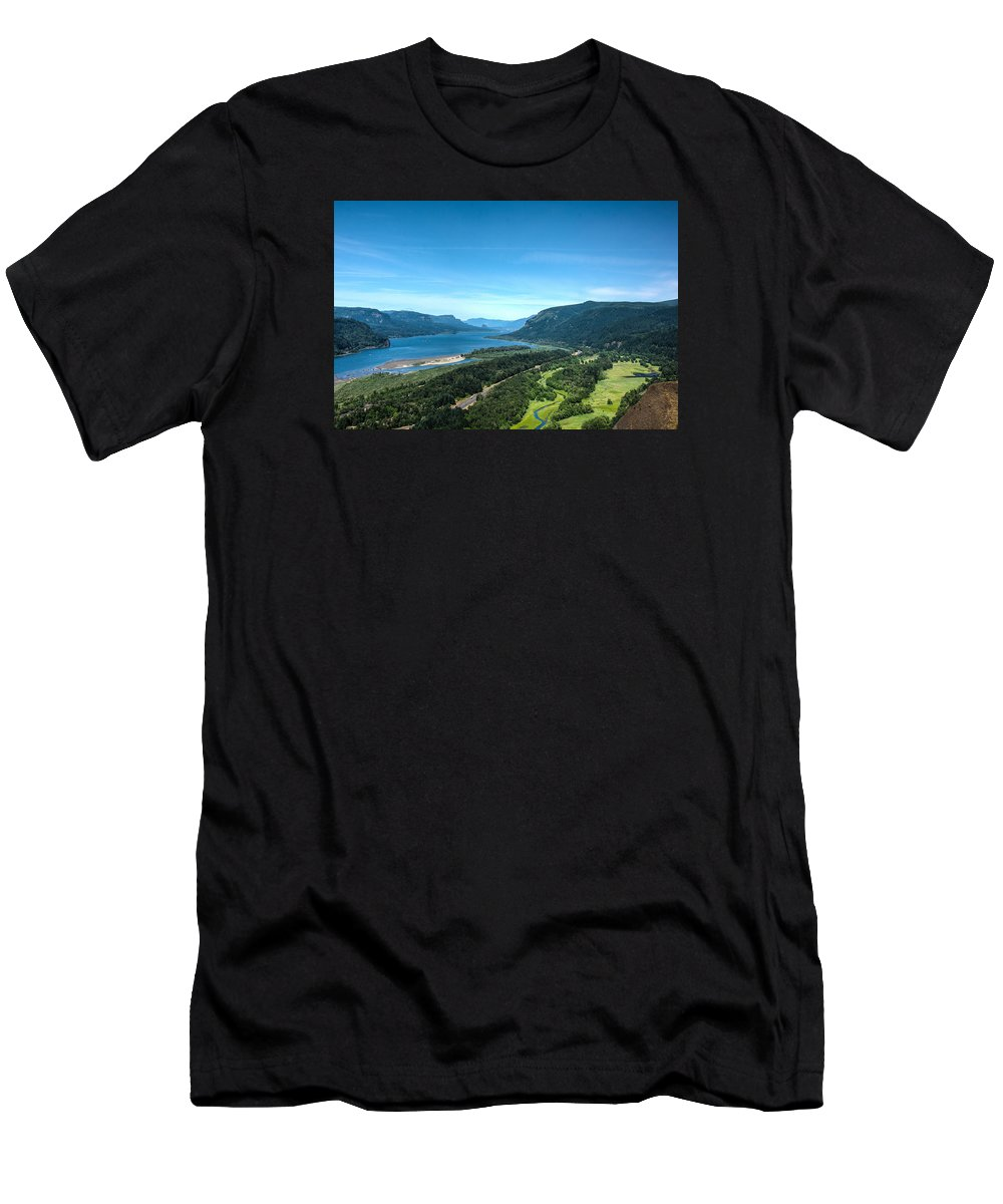 Hood River Men's T-Shirt (Athletic Fit) featuring the photograph The Hood River by Joan Baker