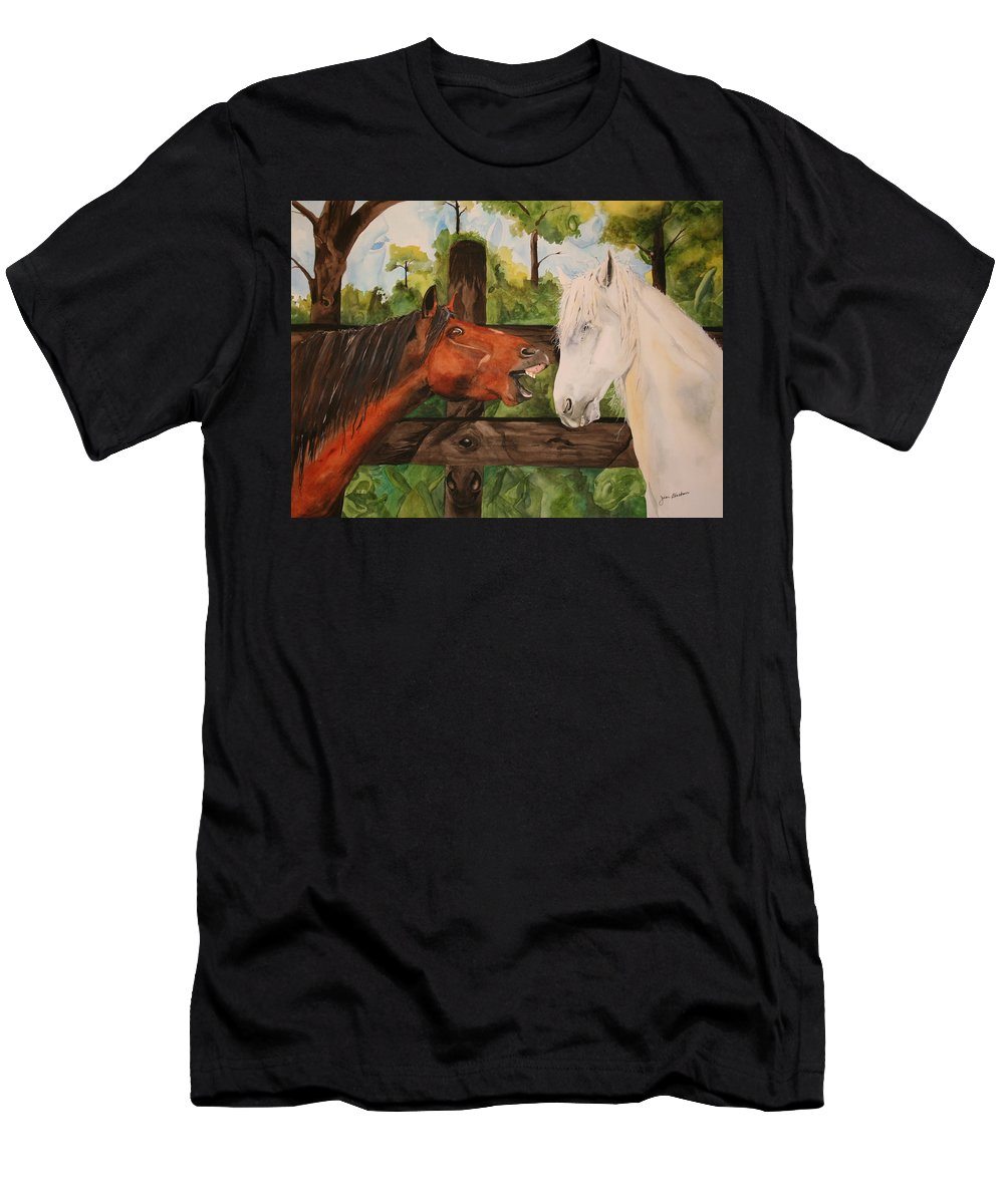 Horse Men's T-Shirt (Athletic Fit) featuring the painting The Horse Whisperers by Jean Blackmer