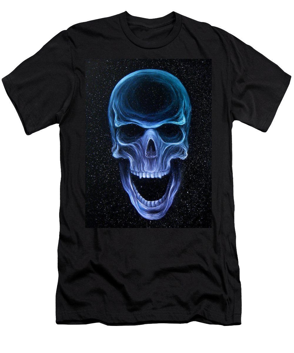 Skull Men's T-Shirt (Athletic Fit) featuring the painting The Howling Void by Colleen Woodward