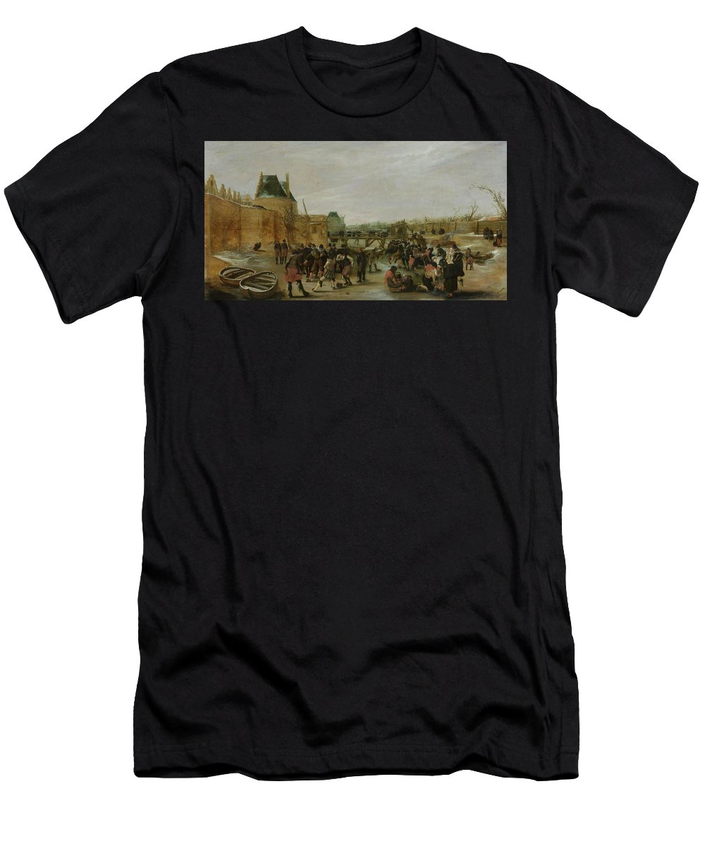 Painting Men's T-Shirt (Athletic Fit) featuring the painting The Ice On A Canal by Mountain Dreams