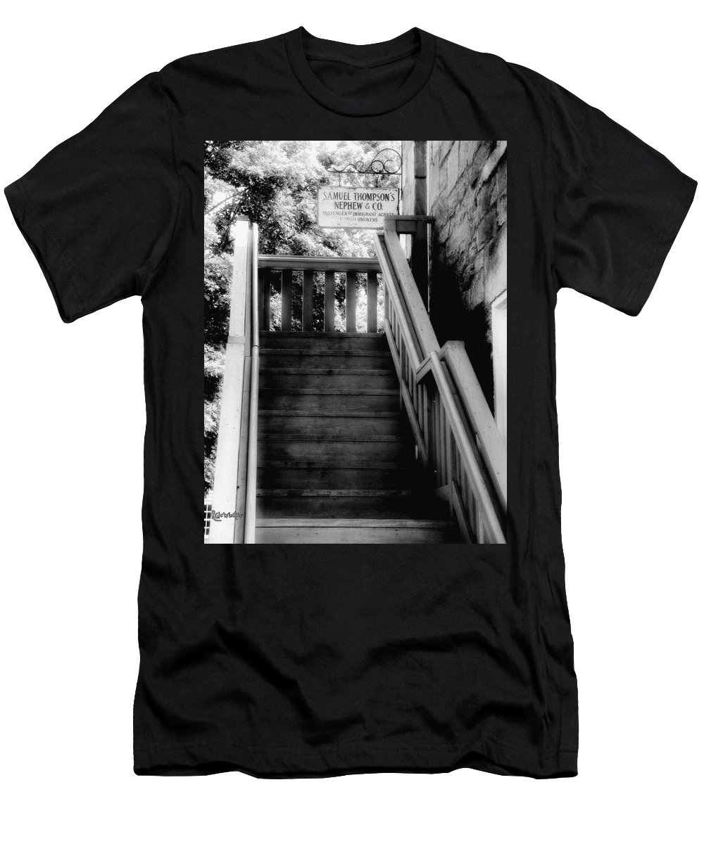 Black And White Men's T-Shirt (Athletic Fit) featuring the photograph The Immigrant Traders by RC DeWinter