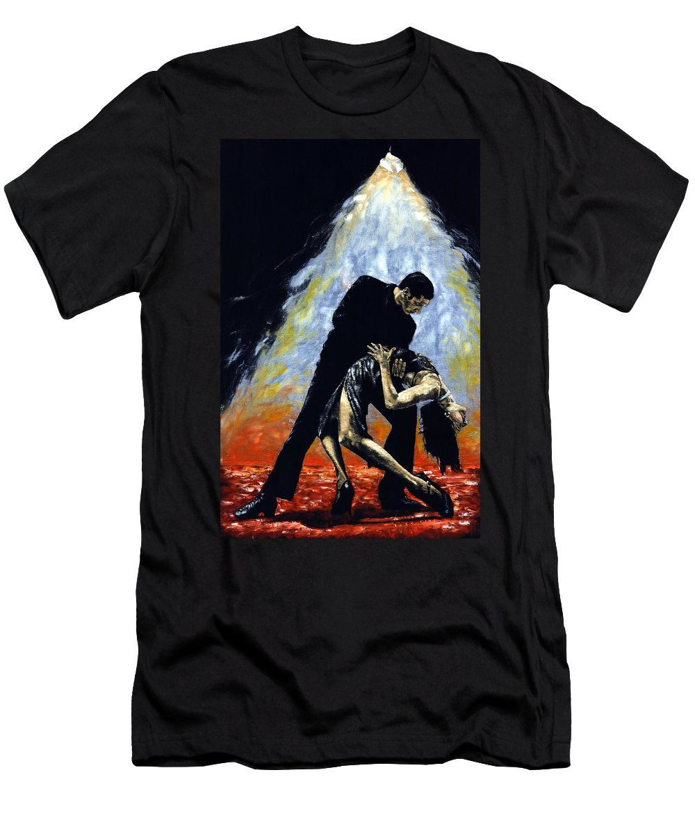 Tango Men's T-Shirt (Athletic Fit) featuring the painting The Intoxication Of Tango by Richard Young