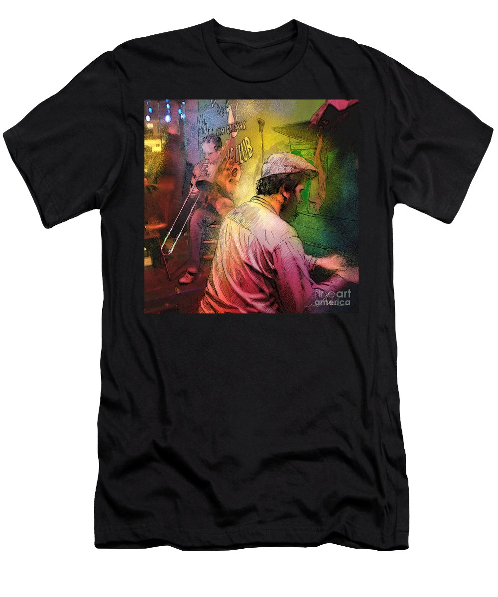 Jazz Men's T-Shirt (Athletic Fit) featuring the painting The Jazz Vipers In New Orleans 01 by Miki De Goodaboom