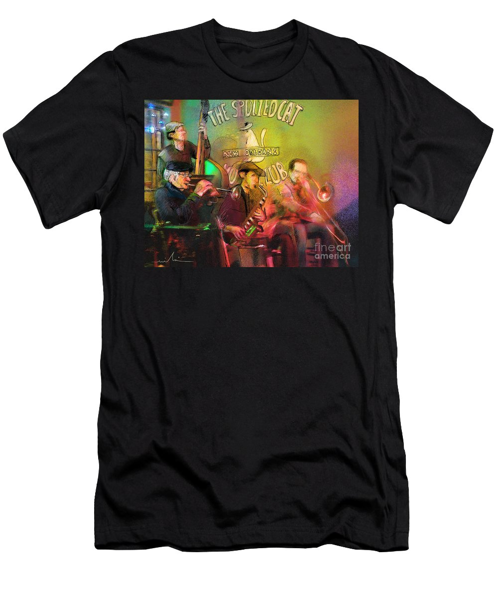 Jazz Men's T-Shirt (Athletic Fit) featuring the painting The Jazz Vipers In New Orleans 02 by Miki De Goodaboom