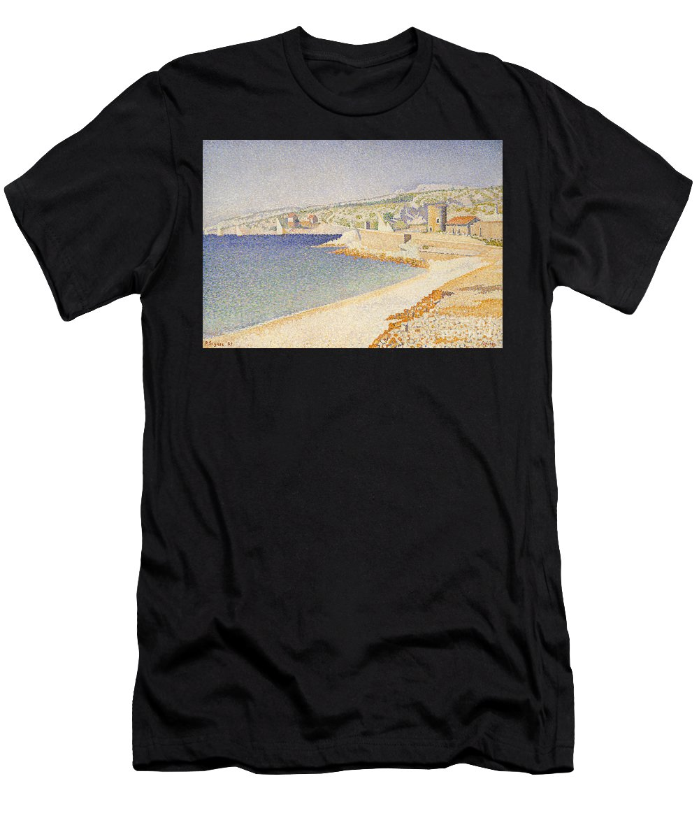 Signac Men's T-Shirt (Athletic Fit) featuring the painting The Jetty At Cassis by Paul Signac