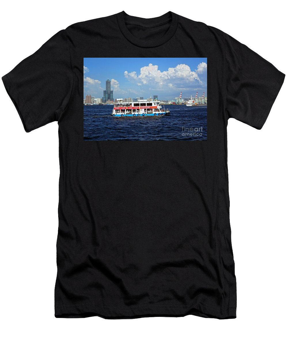 Kaohsiung Men's T-Shirt (Athletic Fit) featuring the photograph The Kaohsiung Harbor Ferry Crosses The Bay by Yali Shi