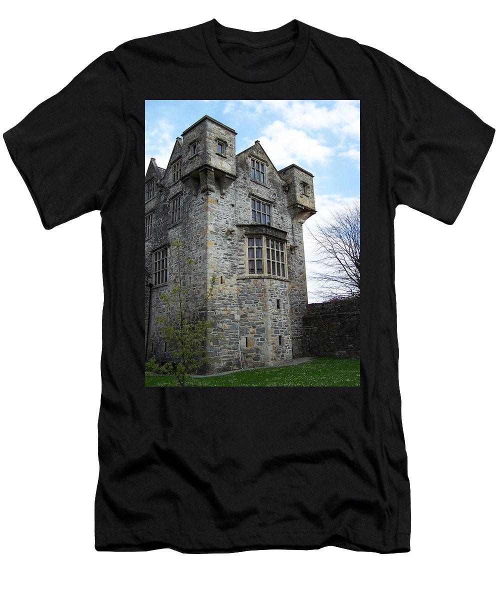 Ireland Men's T-Shirt (Athletic Fit) featuring the photograph The Keep At Donegal Castle Ireland by Teresa Mucha