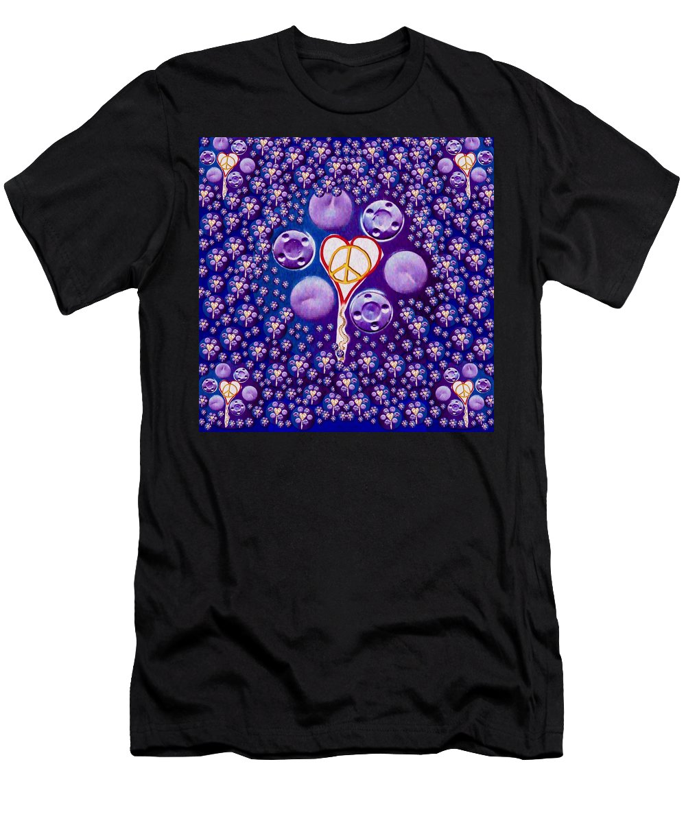 Key Men's T-Shirt (Athletic Fit) featuring the mixed media The Key To Love Is Peace And Love Popart by Pepita Selles