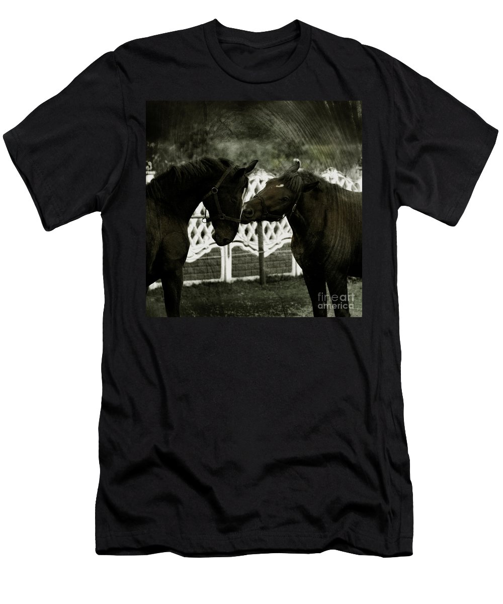 Kiss Men's T-Shirt (Athletic Fit) featuring the photograph The Kiss by Angel Tarantella