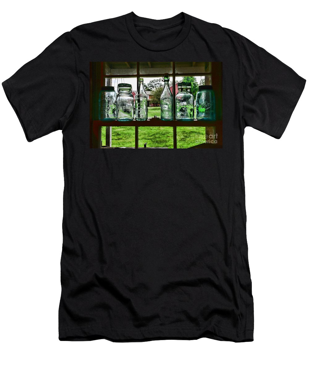 Bottles And Jars In The Window Men's T-Shirt (Athletic Fit) featuring the photograph The Kitchen Window by Paul Ward