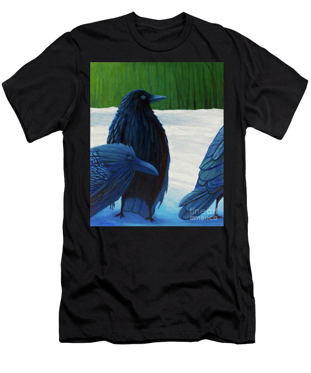 Ravens Men's T-Shirt (Athletic Fit) featuring the painting The Known And The Unknown by Brian Commerford