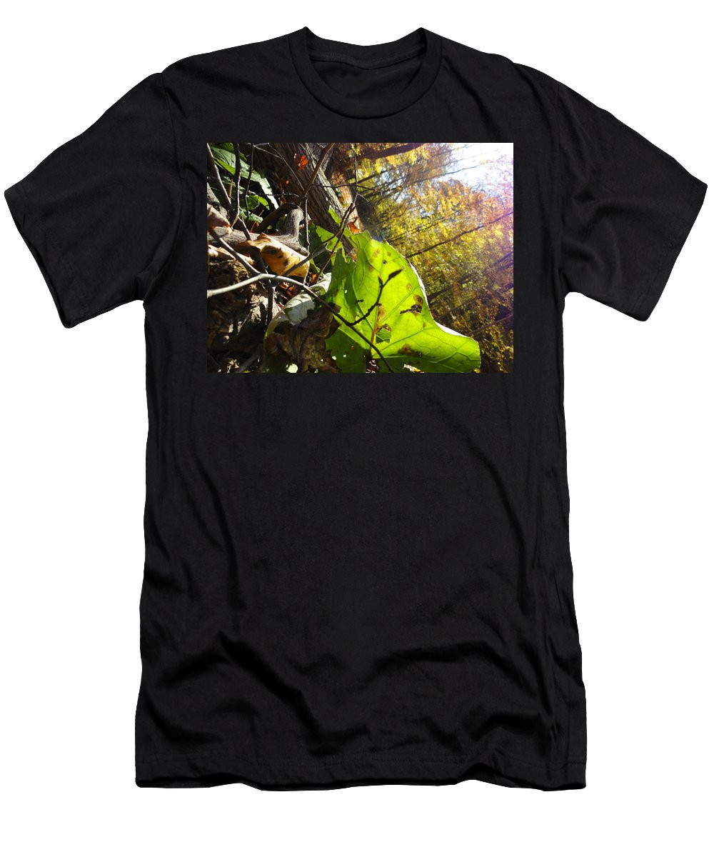 Fall Leaves Men's T-Shirt (Athletic Fit) featuring the photograph The Last Of The Green by Trish Hale