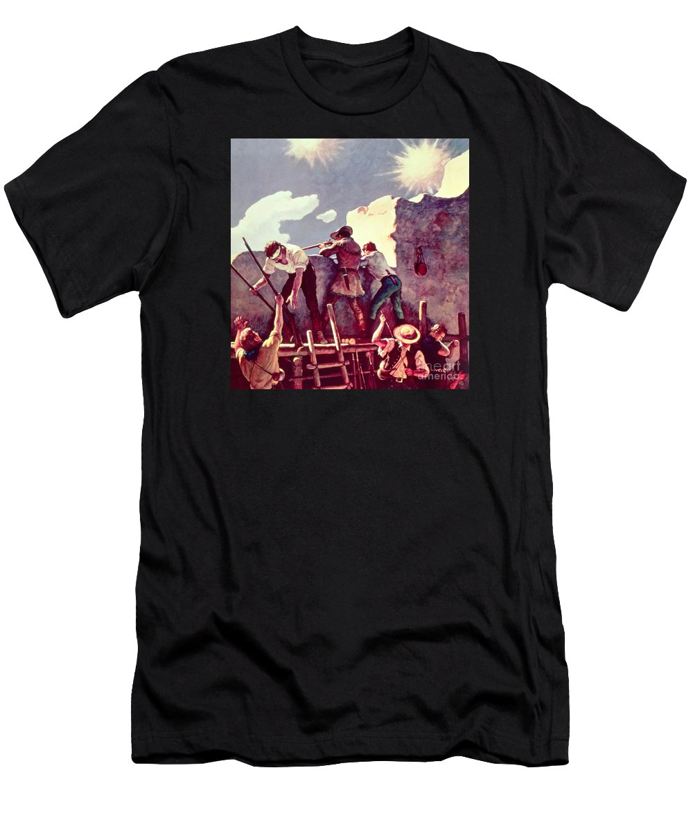 Alamo T-Shirt featuring the painting The Last Stand At The Alamo by Newell Convers Wyeth