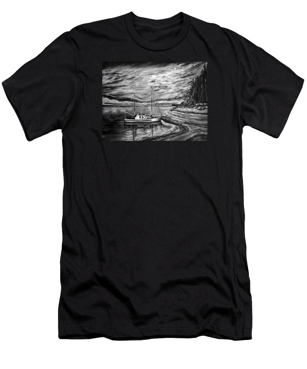 Amazing Print Men's T-Shirt (Athletic Fit) featuring the digital art The Last Sunset Before Sailing Black And White by Katreen Queen