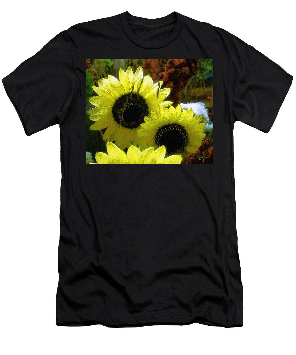 Sunflowers Men's T-Shirt (Athletic Fit) featuring the digital art The Lemon Sisters by RC DeWinter