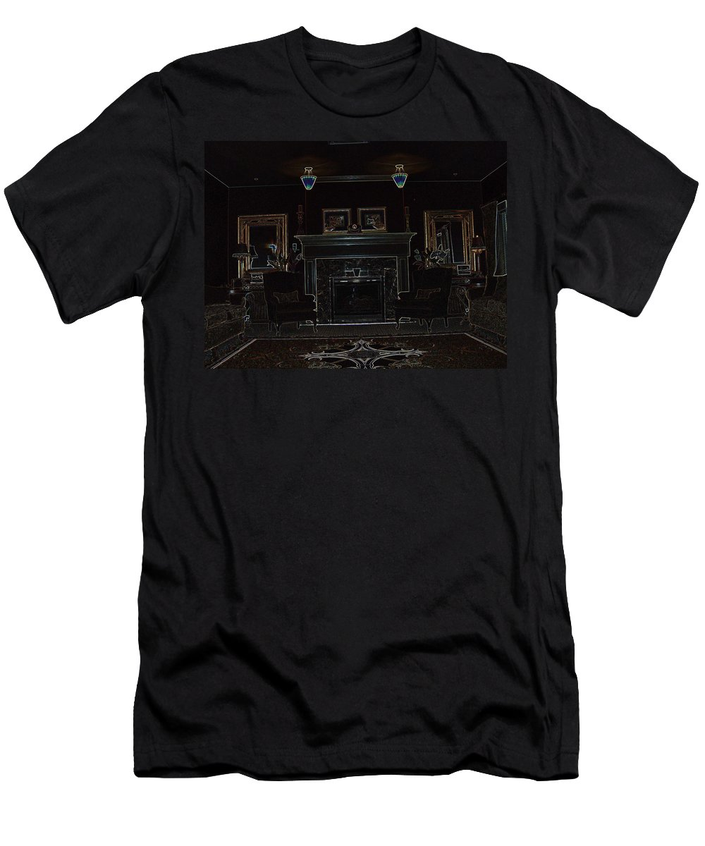 Library Room Building Interior Design Balanced Glowing Edges Men's T-Shirt (Athletic Fit) featuring the photograph The Library by Andrea Lawrence