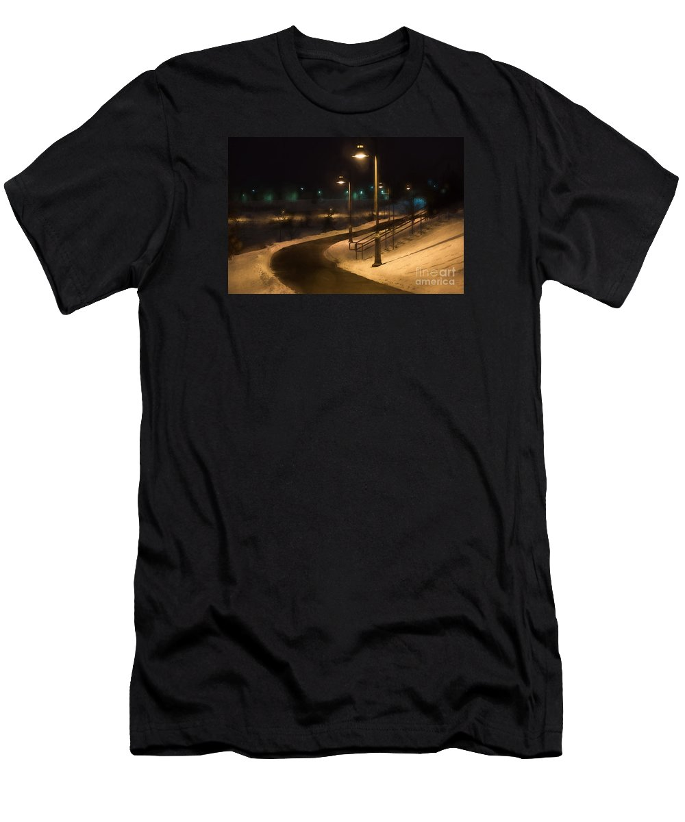 Maple Grove Men's T-Shirt (Athletic Fit) featuring the digital art The Library Path In Winter by Gary Rieks