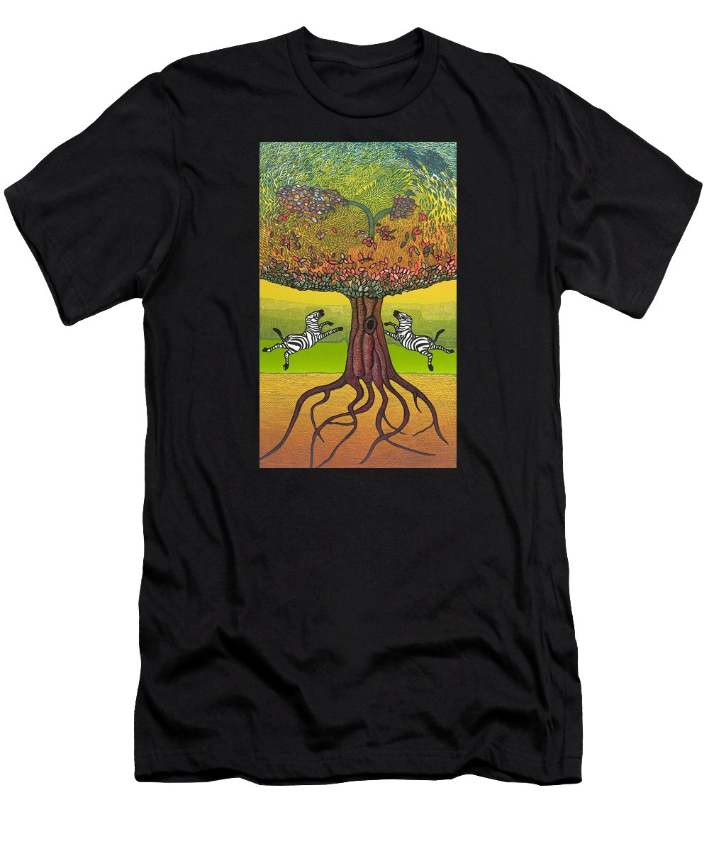 Landscape Men's T-Shirt (Athletic Fit) featuring the mixed media The Life-giving Tree. by Jarle Rosseland