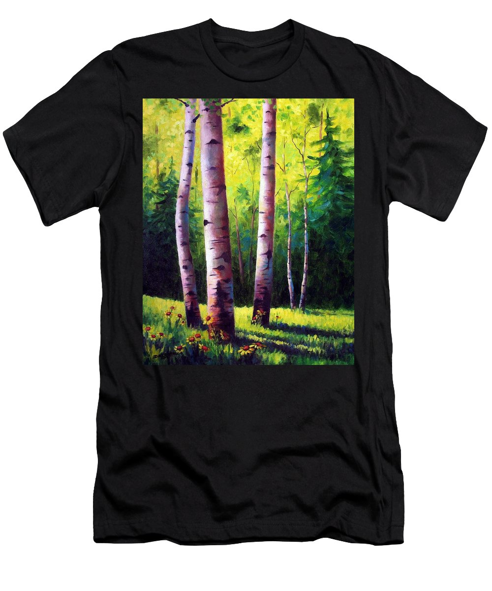 Aspen Men's T-Shirt (Athletic Fit) featuring the painting The Light Of Spring by David G Paul
